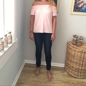 DREW Tops - DREW Off-the-shoulder peach summer top.